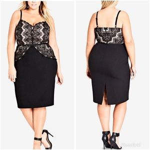 City Chic Spell It Out Lace Sheath Dress Black 22